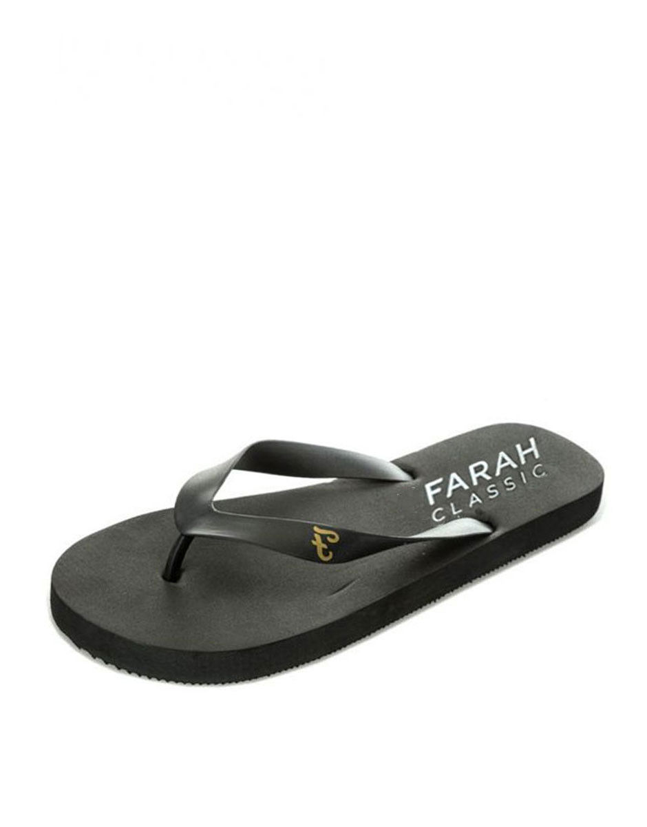 Farah Classic Shore Slip On Black Synthetic Mens Flip Flops FAR0114 095 A61E