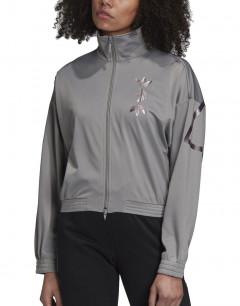ADIDAS Large Logo Track Jacket Charcoal Solid Grey/True Pink