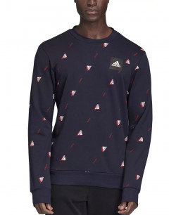 ADIDAS Must Haves Graphic Crew Sweatshirt Indigo
