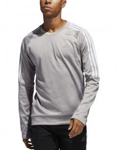 ADIDAS Own the Run 3-Stripes Crew Sweatshirt Grey