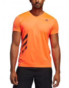 ADIDAS Run It 3 Stripes PB Tee Orange