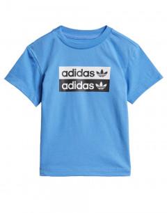 ADIDAS Multi Logos Tee Blue