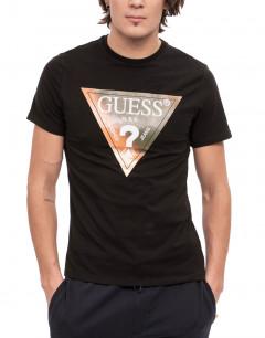 GUESS Coton Stretch Logo tee Black