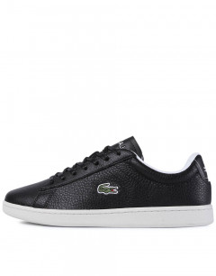LACOSTE Carnaby Evo Tumbled Leather Sneakers Black