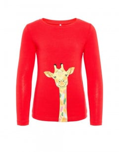 NAME IT Giraffe Long Sleeved Blouse Red