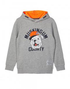 NAME IT Printed Hooded Sweatshirt Grey Melange