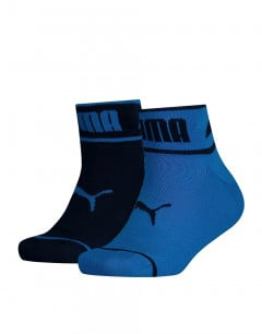 PUMA 2-Pack Seasonal Logo Quarter Socks Blue