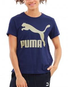 PUMA Classics Logo Tee Peacoat Gold