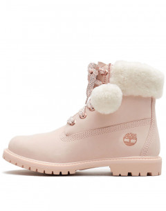 TIMBERLAND Authentic Shearling Collar 6 Inch Waterproof Boot Pink