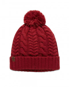 TIMBERLAND Cable Pom Pom Beanie Red