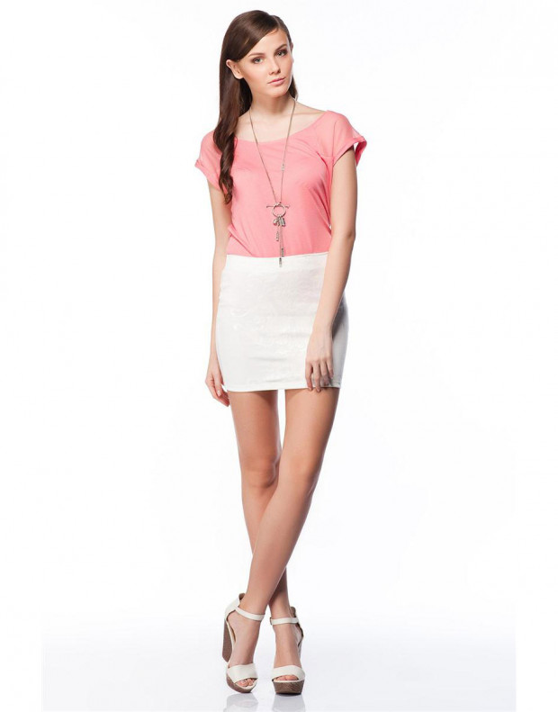 BERSHKA Elastic Skirt White