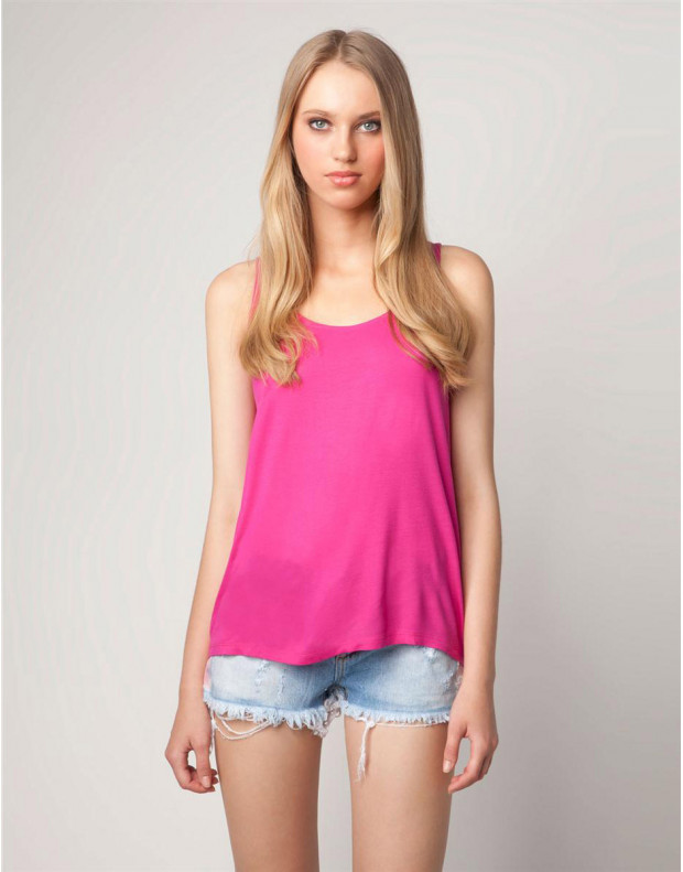 BERSHKA Colour Tank Top Pink