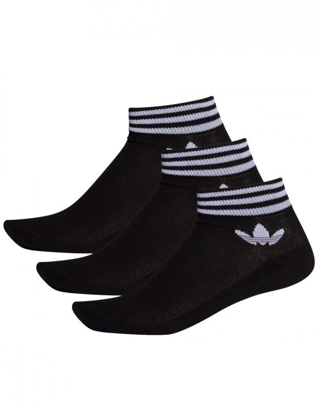 ADIDAS 3 Pairs Trefoil Ankle Socks Black