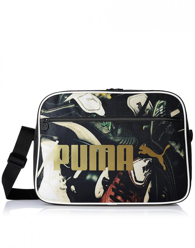 PUMA Black and Football Graphic Messenger Bag