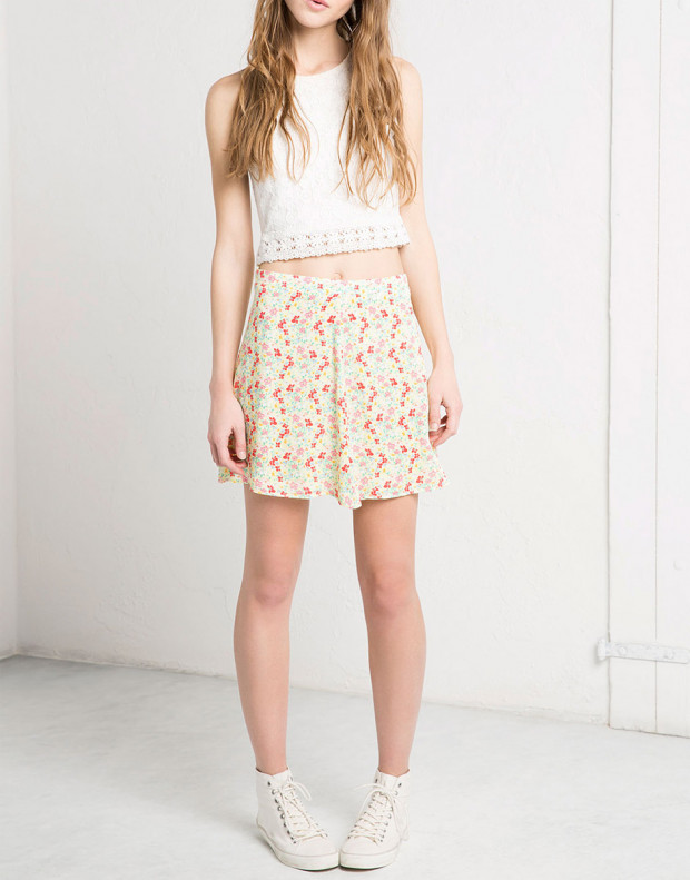 BERSHKA Flower Skirt
