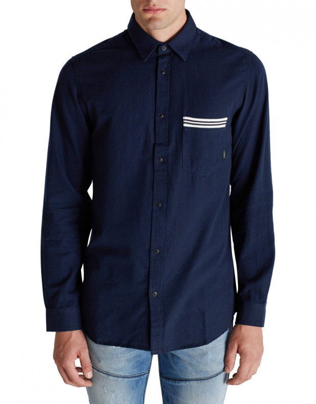 JACK&JONES Ribbed Detail Casual Shirt Blue