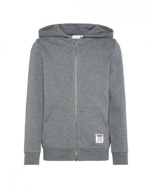 NAME IT Solid Coloured Zip-Up Hoodie Grey
