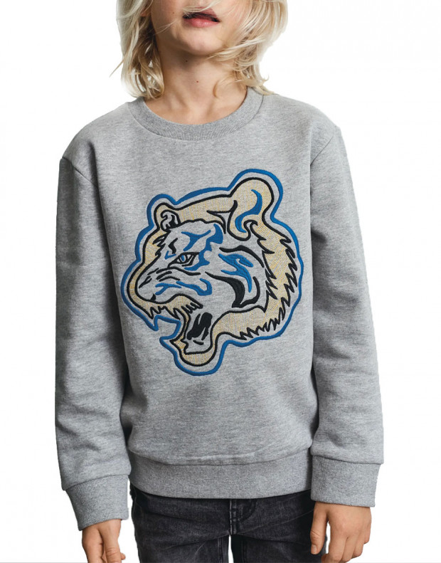 NAME IT Tiger Embroidered Sweatshirt Grey