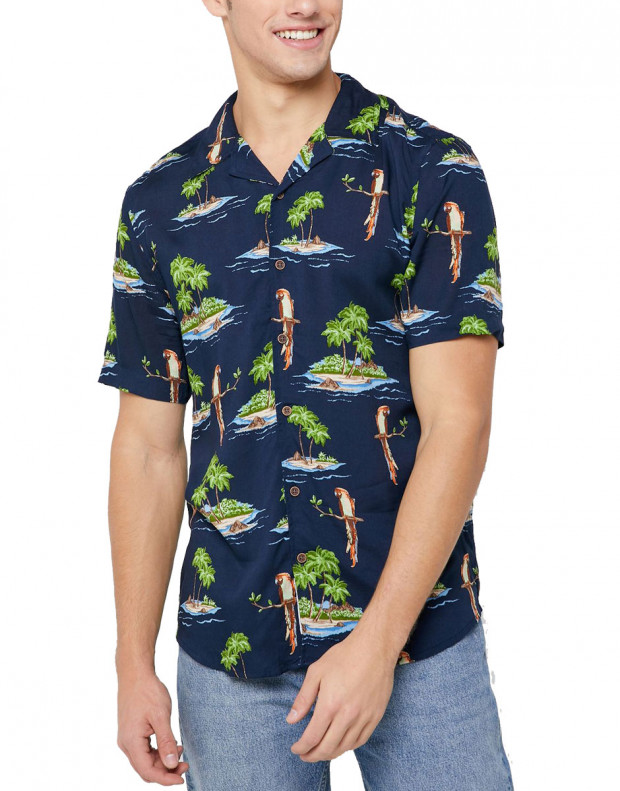 ONLY&SONS Hawaiian Print Relaxed Fit Shirt Navy