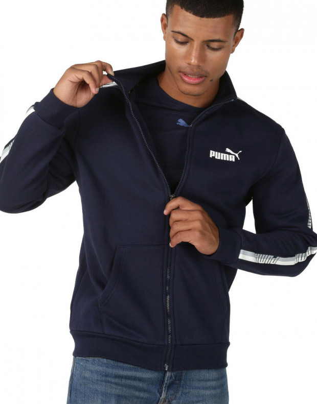 PUMA Tape Full Zip Fleece Hoodie Navy