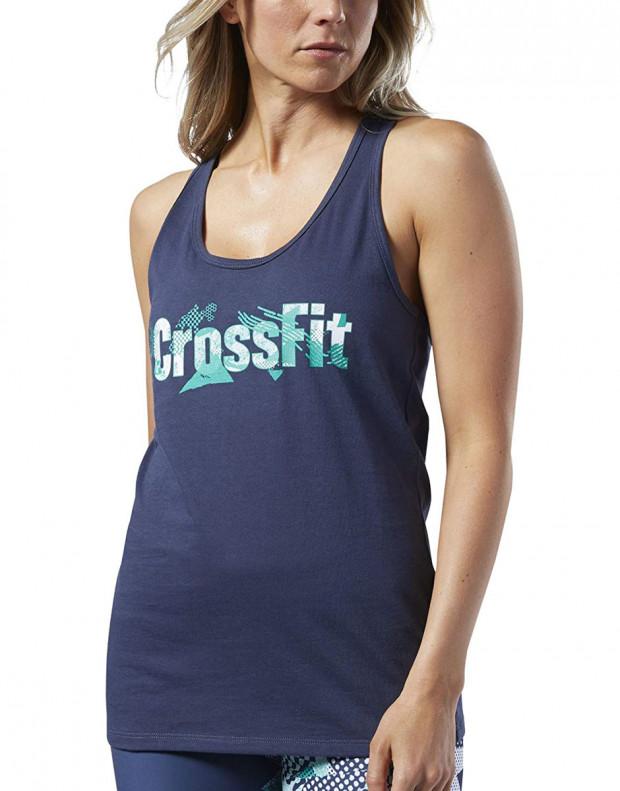 REEBOK CrossFit Print Fill Logo Tank Top Blue