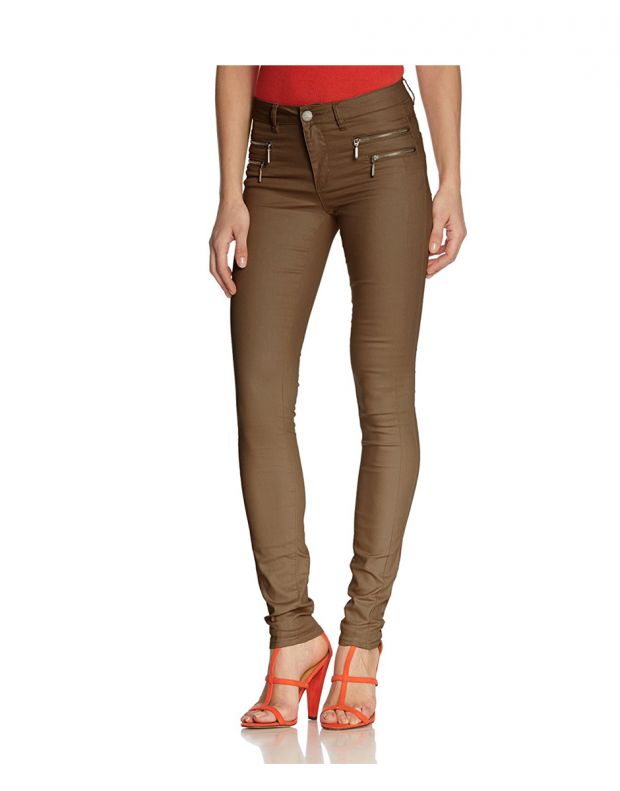 ONLY Coated Regular Zip Pant Chocolate - 1