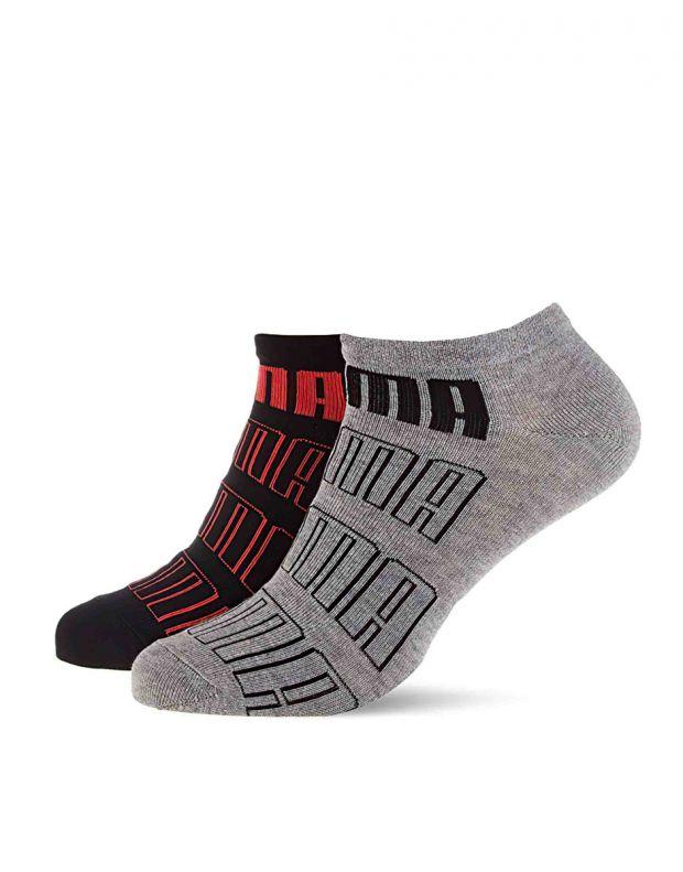 PUMA 2-Pack Seasonal Logo Sneaker Socks Black/Grey 204021001-002