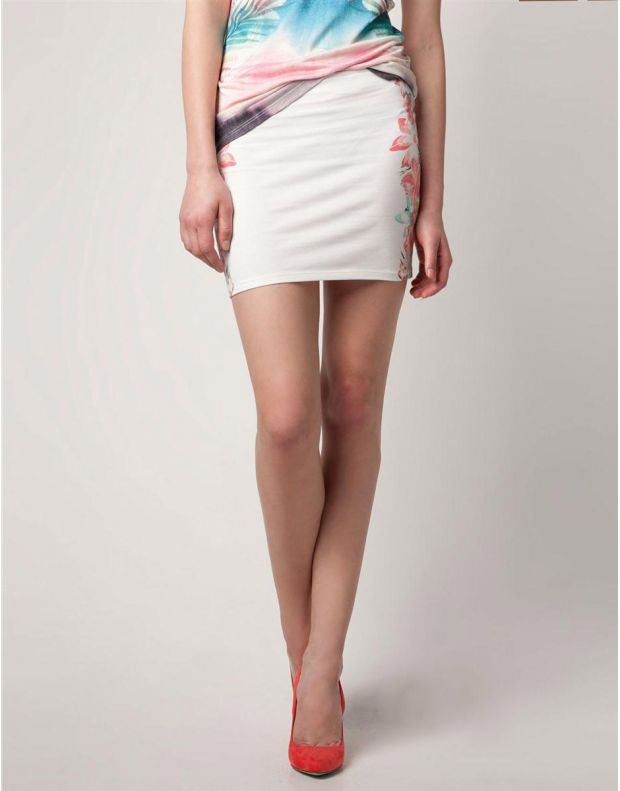 BERSHKA Flower Print Skirt White