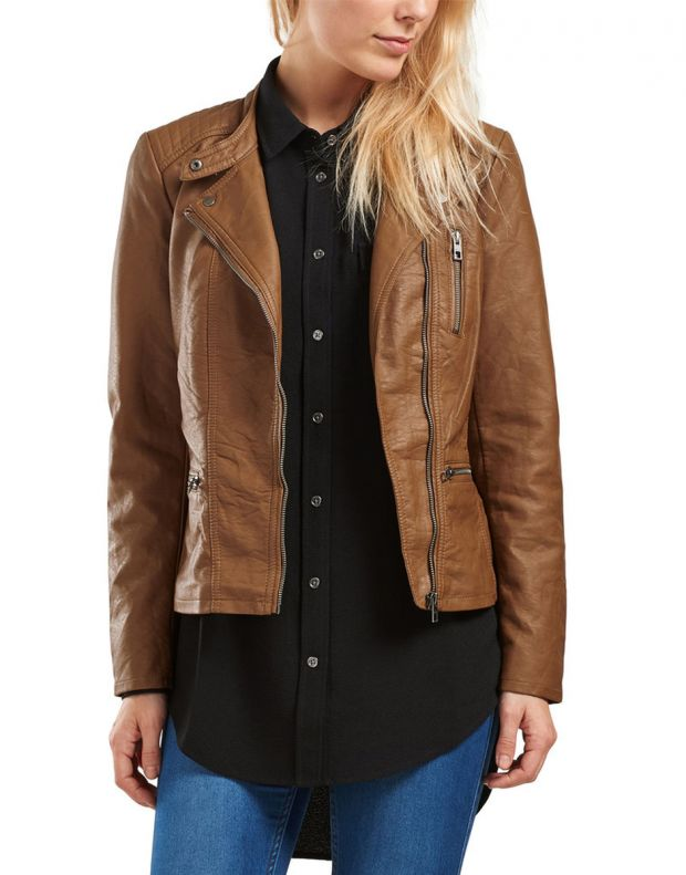ONLY Leather Look Jacket Brown - 1