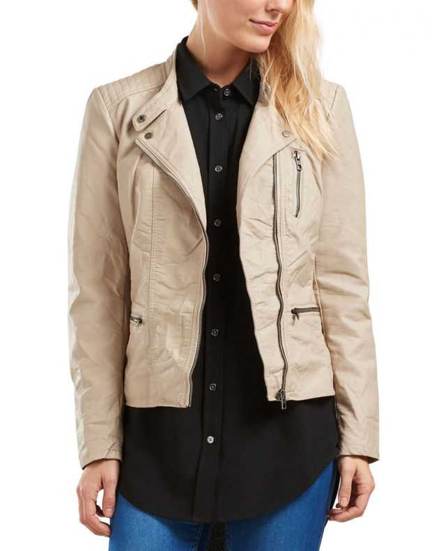 ONLY Leather Look Jacket Beige - 1