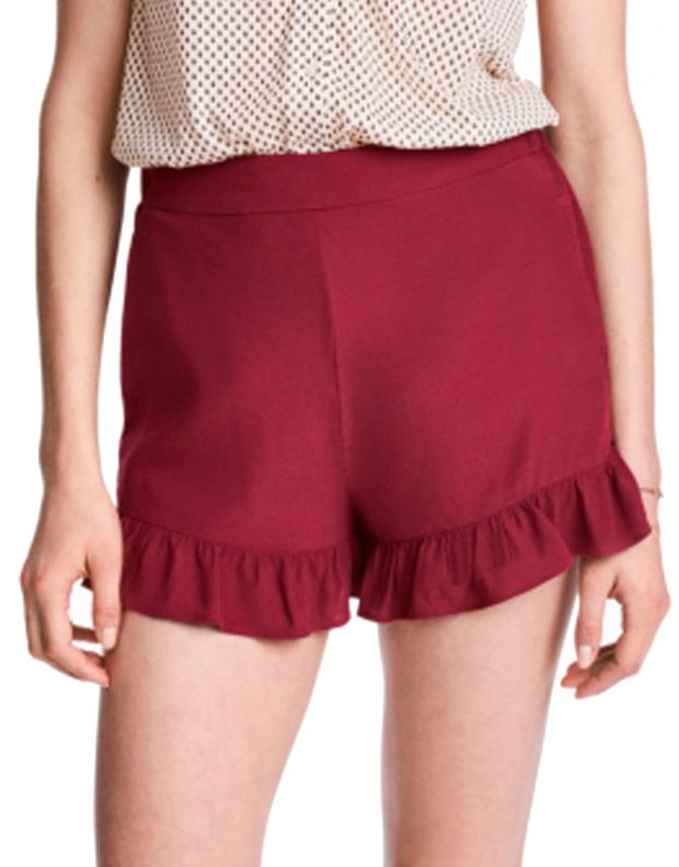 H&M Frill-Trimmed Shorts - 2493/red - 1
