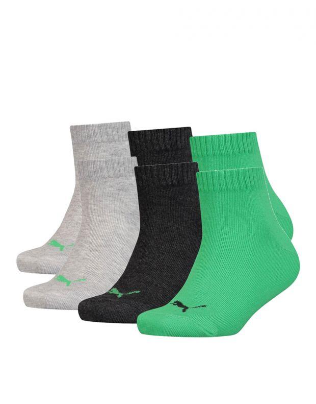 PUMA Kids Quarter Socks 3 Pack Green
