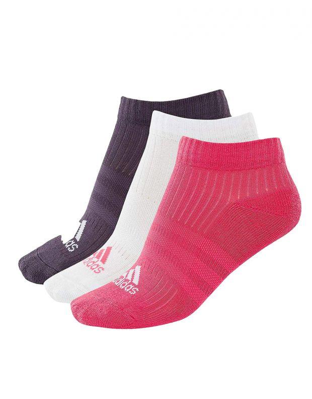 ADIDAS 3 Stripes Logo Socks 3 Pairs Pink - CF7344 - 1