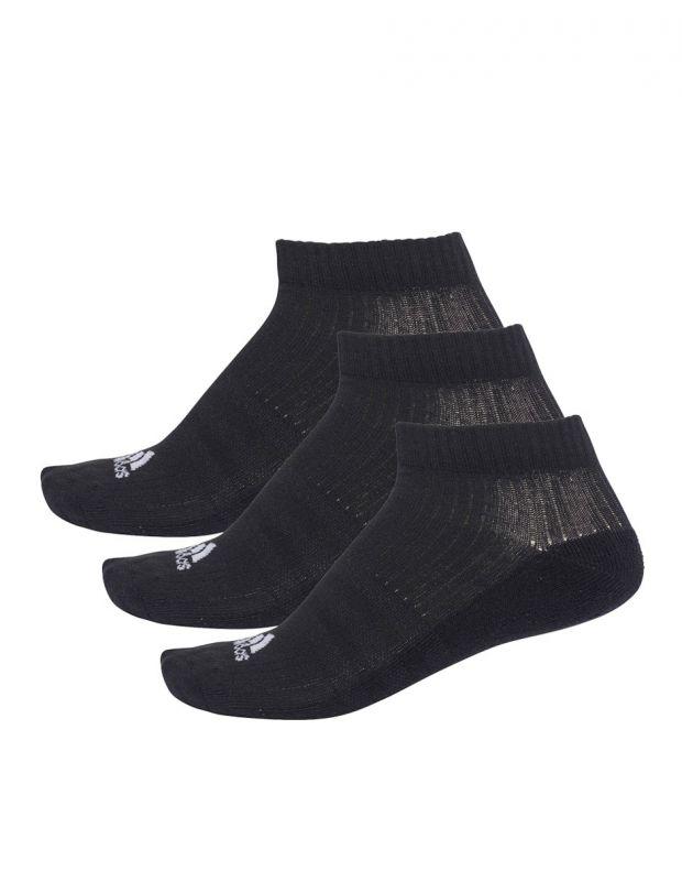 ADIDAS 3 Stripes No-Show Socks 3 Pairs Black - AA2280 - 1