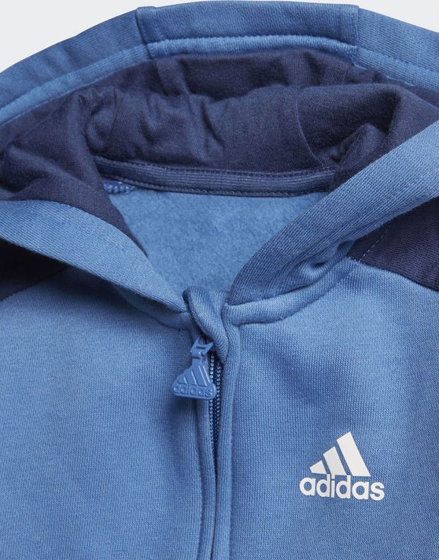 ADIDAS Linear Hoodie Fleece Jogger Blue - CF7404 - 6