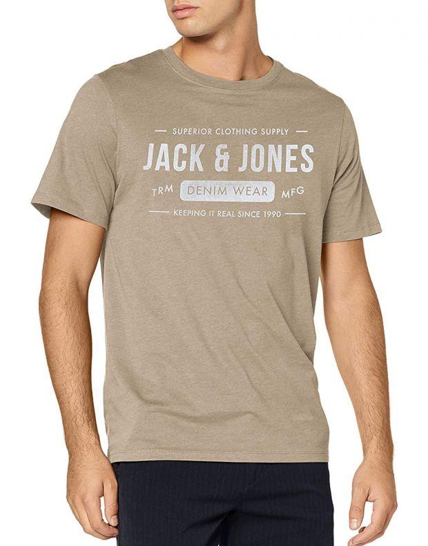 JACK&JONES Front Logo Tee Beige - 12157339/crockery - 1