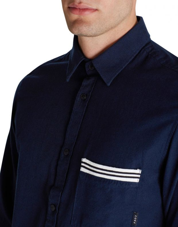 JACK&JONES Ribbed Detail Casual Shirt Blue - 3