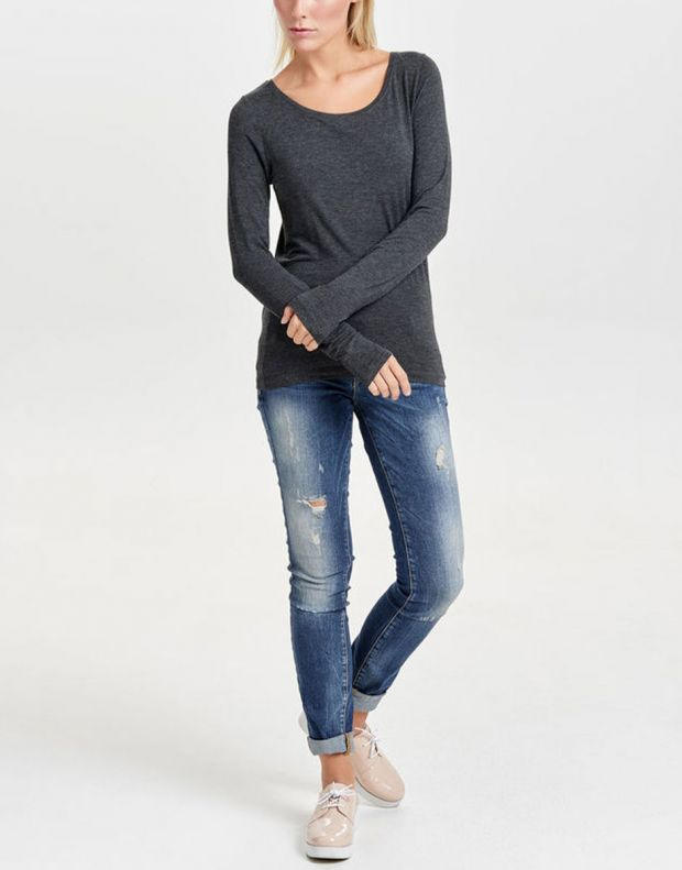 ONLY Knitted Long Sleeved Blouse Dark Grey - 2