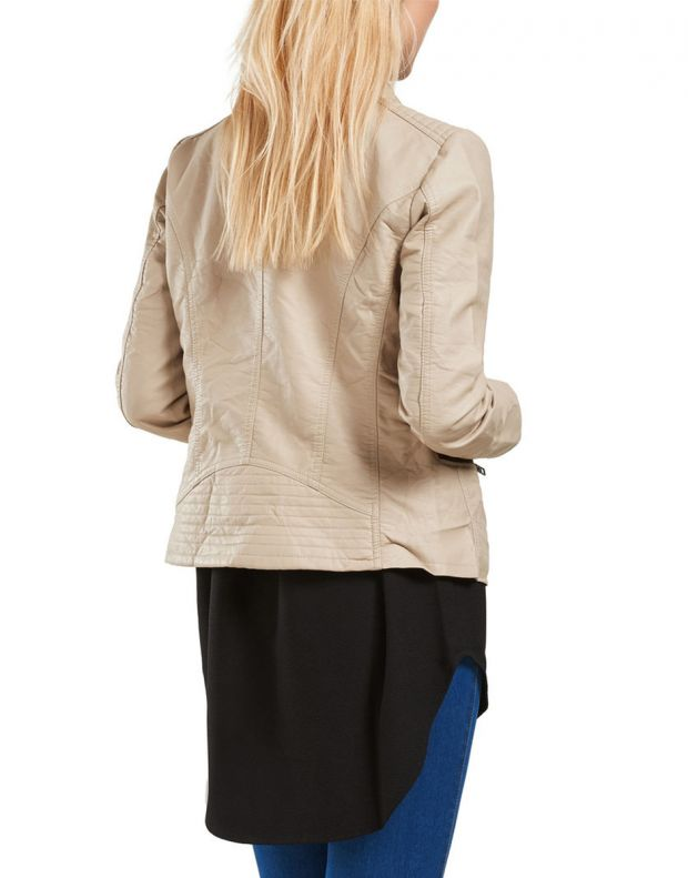 ONLY Leather Look Jacket Beige - 2