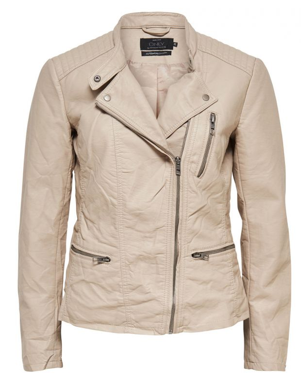 ONLY Leather Look Jacket Beige - 5