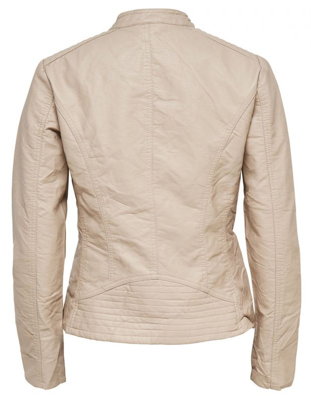 ONLY Leather Look Jacket Beige - 4