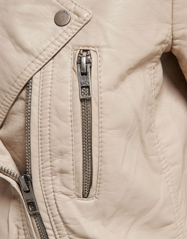 ONLY Leather Look Jacket Beige - 6