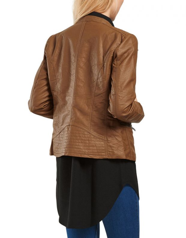 ONLY Leather Look Jacket Brown - 2