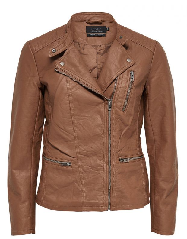 ONLY Leather Look Jacket Brown - 5