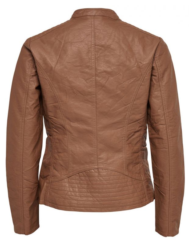 ONLY Leather Look Jacket Brown - 4