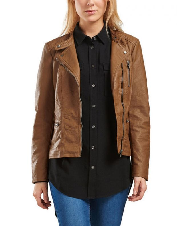 ONLY Leather Look Jacket Brown - 3