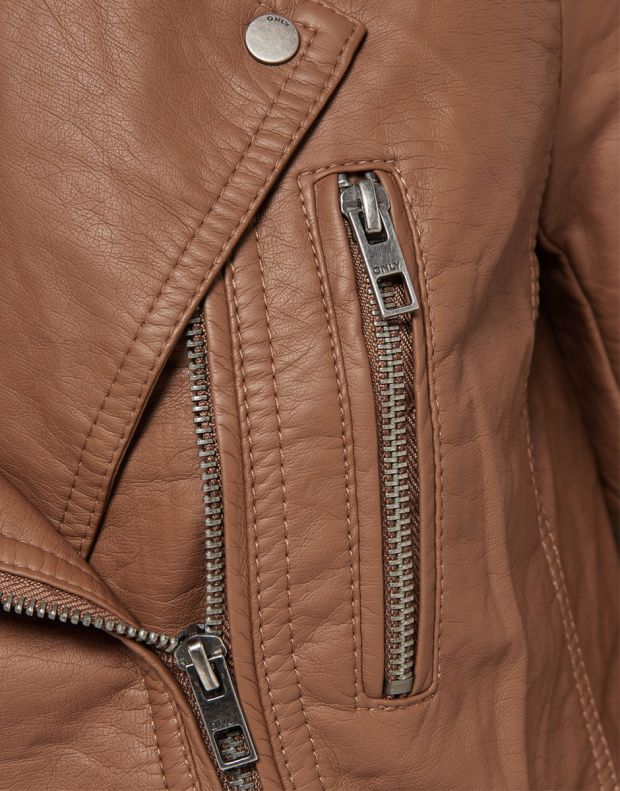 ONLY Leather Look Jacket Brown - 6