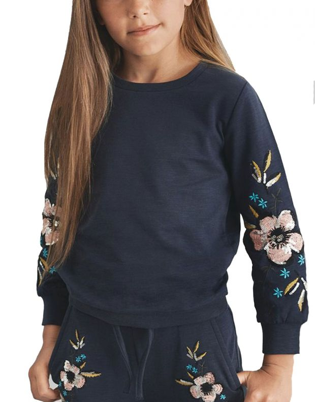NAME IT Floral Embroidered Sweatshirt Sapphire - 13156973/sapphire - 1