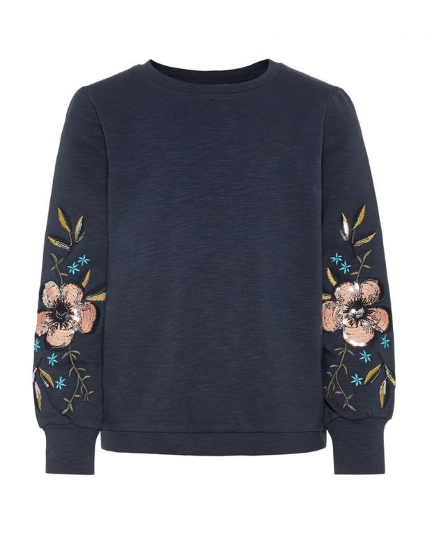 NAME IT Floral Embroidered Sweatshirt Sapphire - 13156973/sapphire - 2