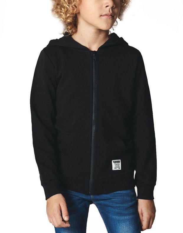 NAME IT Solid Coloured Zip-Up Hoodie Black - 13158554/black - 1